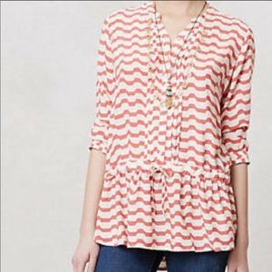 Anthro Isabella Sinclair swizzle coral white tunic